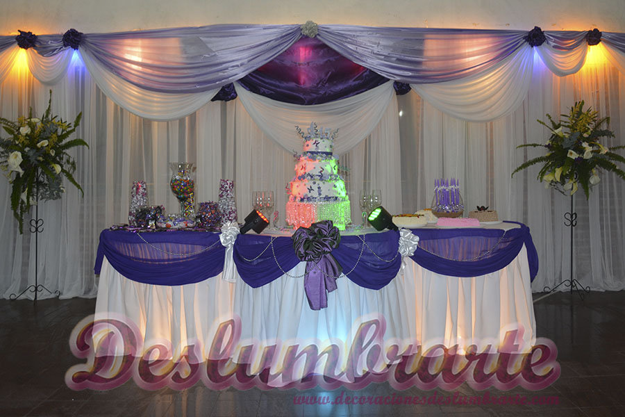 15 a os violeta y blanco for Decoracion de banos para 15 anos